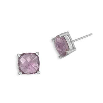 Square Amethyst Solitaire Stud Earrings