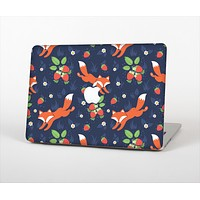 The Running Orange & Navy Vector Fox Pattern Skin Set for the Apple MacBook Air 11""