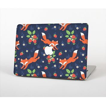 The Running Orange & Navy Vector Fox Pattern Skin Set for the Apple MacBook Pro 15""