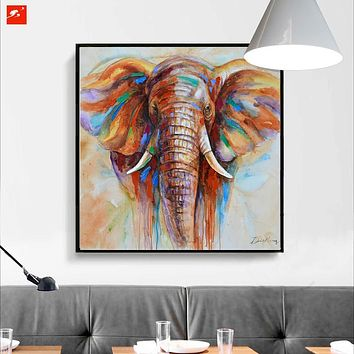 Wildlife Colorful Elephant Picture Canvas Print Plus 50% Oil Painting Home Decor Picture For Bedroom Industrial Loft Livingroom