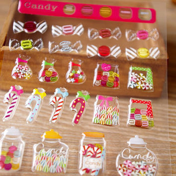 Handmade Candy shop crystal sticker Sweet candy seal label rainbow candy glass candy box candy house mini store special deco special gift