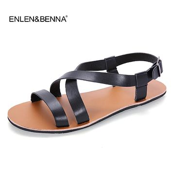 2018 Summer Leather Sandals Men Fashion Brand Quality Gladiator Beach Sandals Slippers Men Casual Shoes Sandals sandalias mujer