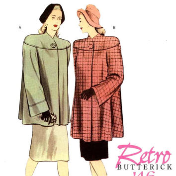 40s Retro coat pattern Lined flared 1946 coat re issue sewing patterns Butterick 5298 Sz 8 to 14