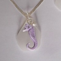 Sea Glass Necklace with Seahorse