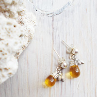 Tiny bees & honey drops dangle earrings, sterling silver ball post studs, wire wrapped amber czech glass, golden yellow topaz, November