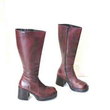tall OXBLOOD platform boots vintage 80s 90s knee high boot CLUB KID chunky heel platforms