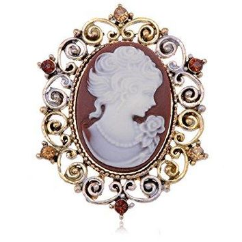 Alilang Womens Antique Golden Tone Vintage Victorian Floral Purple Cameo Lady Brooch Pin