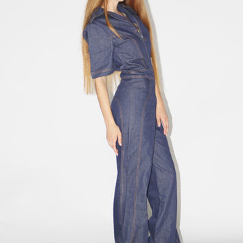 1970s Vintage Dark Denim Wash Bell Bottom Jumpsuit