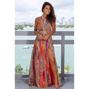 Orange Printed Maxi Dress