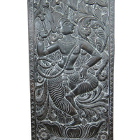"antique carving Door Panel Dancing Krishna Hand Carved Wall Panels India 72"" X 36"""