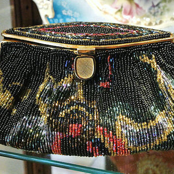 La Regale Beaded Handbag Sequin Studio 18 Purse Bead Clutch Conversion 1970s Prom Formal Evening Little Black Dress Party Retro Accessory