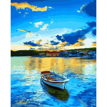 Hand painted DIY Digital Oil Paintings On Canvas coloring painting by numbers wall art pictures Home Decor Sea Wonders