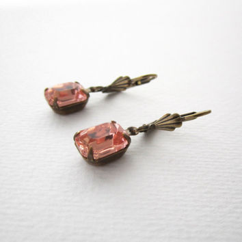 Rosaline Pink Earrings - Romantic Feminine Modern - Cocktail Earrings - Peach Pink