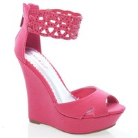 Pompey46 Coral by Bamboo, Coral Cutouts Perforated Rhinestone Stud Ankle Cuff Open Toe Wedge