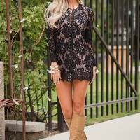 Believe In Love Design Tunic Dress Black