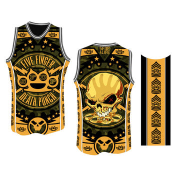 5 Finger Death Punch Chevron B-Ball Yellow Jersey