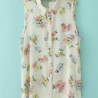 Floral Pirnt High-Low Chiffon Shirt