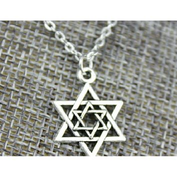 Simple Vintage 2 Colors Antique Bronze, Antique Silver Star of David Pendant Necklace (Antique Bronze Plated)