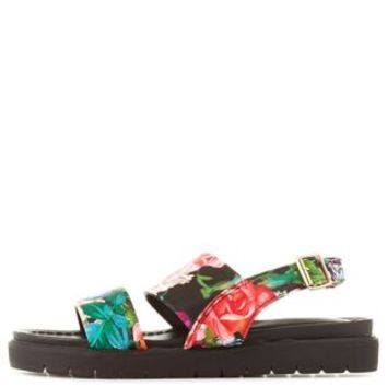 Black Multi Floral Print Slingback Flat Sandals by Charlotte Russe