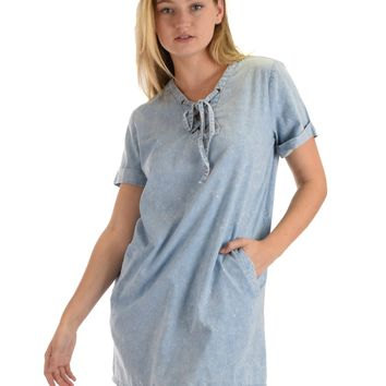 SL4957 Blue Half Sleeve Woven Washed Denim Dress With Lace Up And Side Pocket