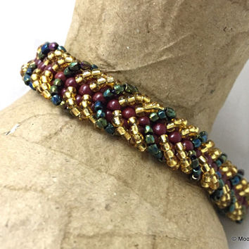 Statement Bracelet, Beadwoven Bracelet, handmade jewelry, gift for woman girlfriend wife, gold jewelry, bling bracelet, easy wear jewelry