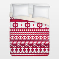 Red Fair Isle Christmas Pattern Duvet Cover by noondaydesign on BoomBoomPrints
