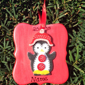 Personalized Metallic Red Penguin Ornament