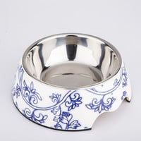 Floral Porcelain Double Layer Dog Bowl Pet Feeder