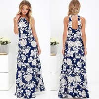 Naomi Floral Print Long Halter Maxi Dress