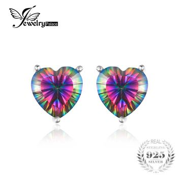 JewelryPalace Heart 4.5ct Genuine Rainbow Fire Mystic Topaz Real 925 Sterling Silver Stud Earrings Vintage Jewelry Brand Fashion
