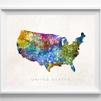 United States Watercolor, Poster, Map, Painting, Home Town, Art, USA, States, America, Wall Decor, silhouette, US [NO 351]