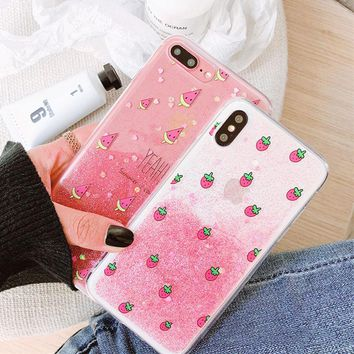 Fashion Glitter powder Gradient Strawberry Phone Case For