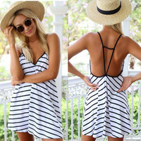 White Striped Print Spaghetti Strap Backless Mini Dress