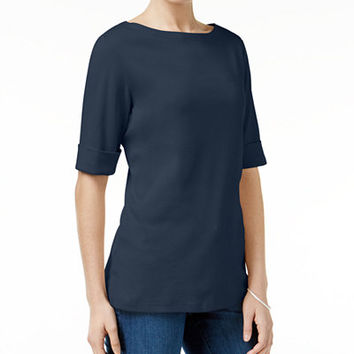 Karen Scott Elbow-Sleeve Boat-Neck Top, Only at Macy's - Tops - Women - Macy's