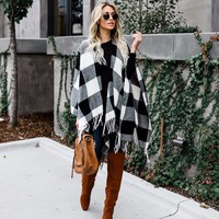 Fall Obsessed Buffalo Check Poncho