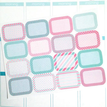 Pink and Teal Half Box Planner Stickers- 16 count