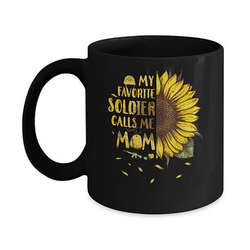 Sunflower My Favorite Soldier Calls Me Mom Mothers Day Gift Mug