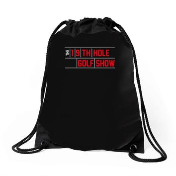 my best round is the 19th hole funny golf drinking Drawstring Bags