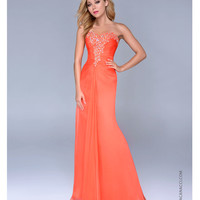Nina Canacci 2014 Prom Dresses - Tangerine Chiffon & Beaded Strapless Prom Gown