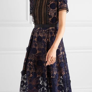 High Quality 2017 New Women Self Portrait Lila Floral Lace Runway Dress Elegant Party Ladies Long Clothing