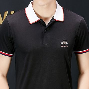 GUCCI hot seller of men's small logo embroidered button collar short-sleeved t-shirts