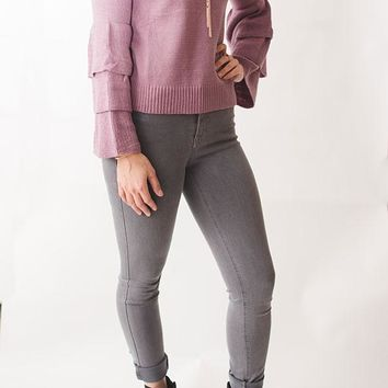Ruffled Tier Sleeve Knit Sweater - Mauve