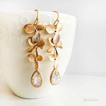 Gold Bridal Earrings, Wedding Jewelry, Diamond, Cubic Zirconia, Crystal, Floral Earrings, Dangling Design, For the Bride, Bridesmaids Gift
