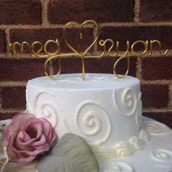 Custom Cake Topper - Wedding Cake Topper, Wire Cake Topper, Names Personalized Topper, Cake Topper,Wedding Gift,Gold Cake Topper,Many Colors