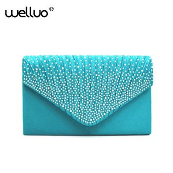 Satin Rhinestone Envelop Evening Clutch Bag Women Chain Purse Handbag Shoulder Bags Bridal Clutch Wedding Pochette Soiree XA79B