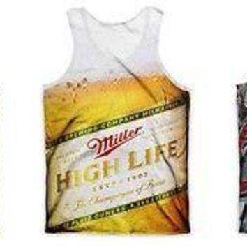 Miller Lite  - Coors Light Beer Sublimation Adult Men Tank Top Shirt S-2XL