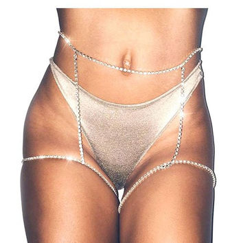 crystal knee waist thigh body chain bikini bathing suit