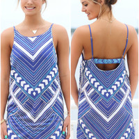 Dallas Blue Tribal Sequined Dress