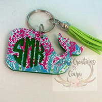 Lilly Pulitzer Ispired Monogram Whale Keychain | Whale Acrylic Keychain | Monogram Whale | Pattern Keychain Lilly | Personalized Keychain