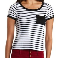 Striped Ringer Pocket Tee by Charlotte Russe - Ivory Combo